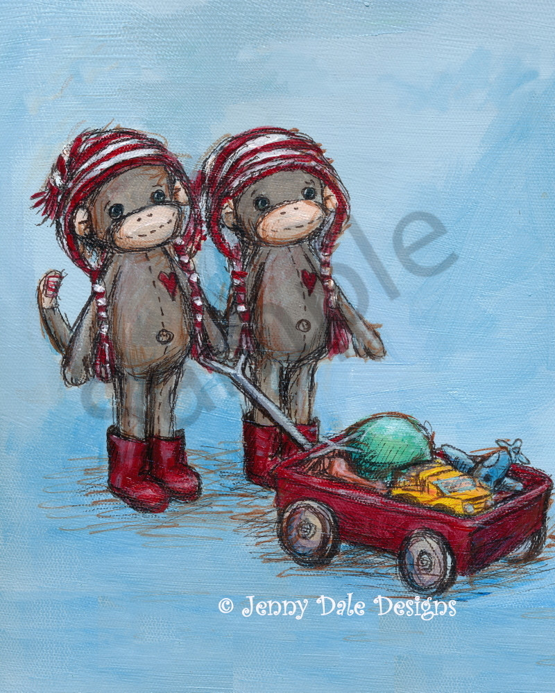 Twin Sock Monkeys Pulling Wagon Art | Jenny Dale Designs