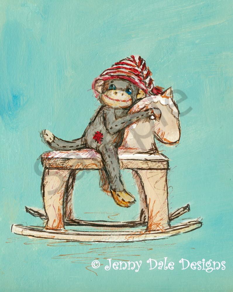Sock Monkey's Rocking Horse Art | Jenny Dale Designs