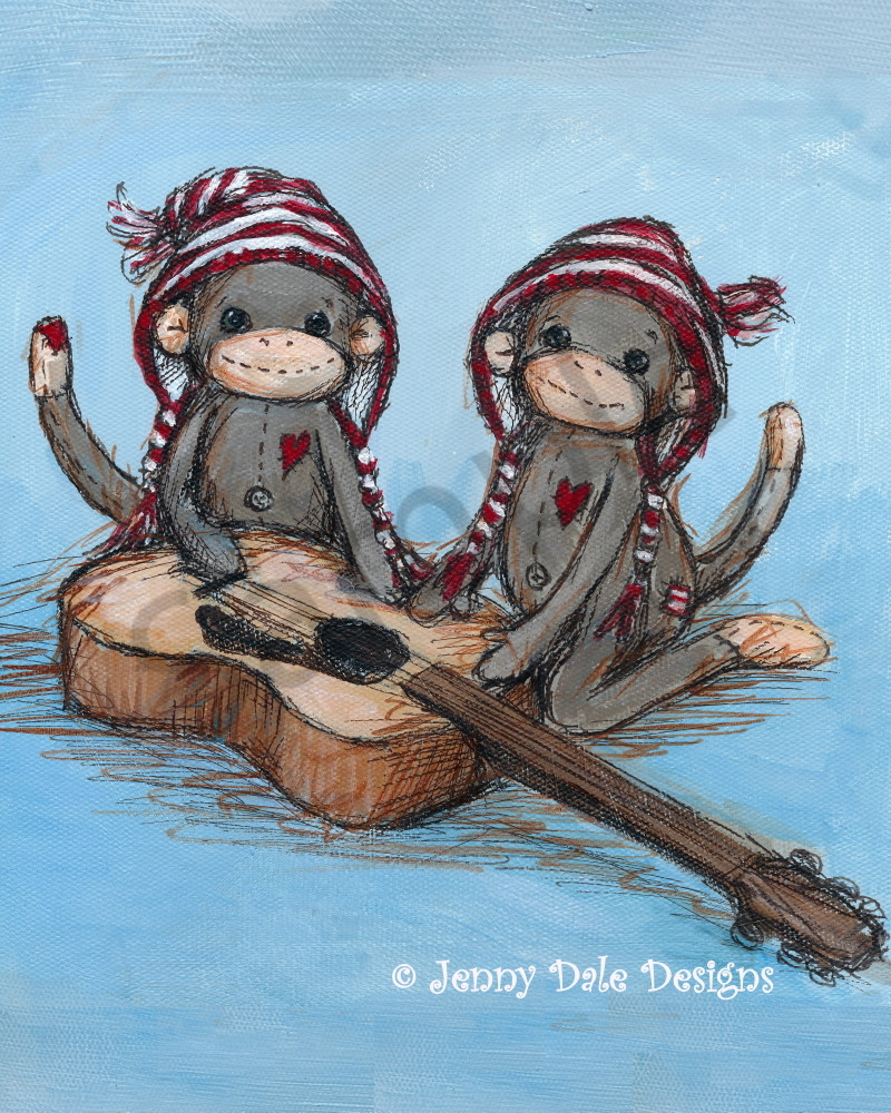 Twin Sock Monkeys Playing Guitar Art | Jenny Dale Designs