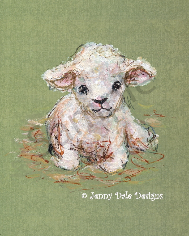 Little Lamb: Seated Front View Art | Jenny Dale Designs