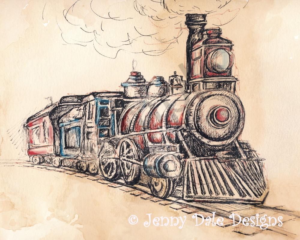 Vintage Train Sketch
