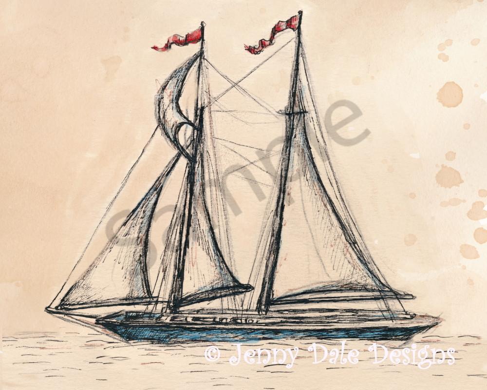 Vintage Sailboat Sketch