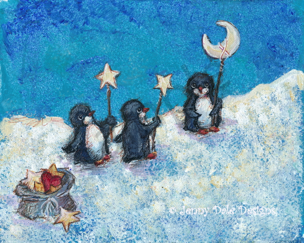 Penguin And Stars: The Joy Makers Art | Jenny Dale Designs