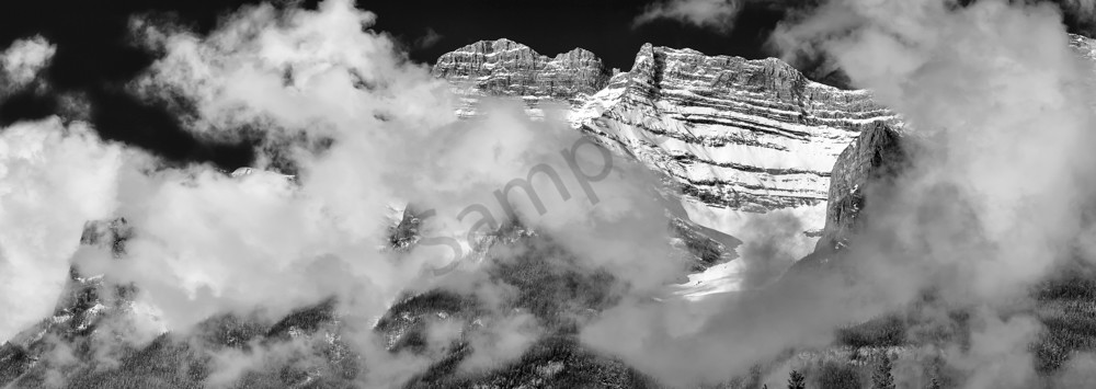 Clouds form  a Necklace on Rundle.Canadian Rockies | Banff national Park|Rocky Mountains|