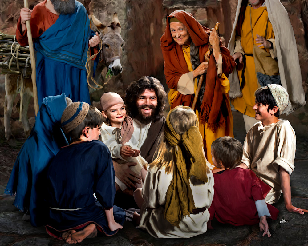 Joyous Jesus in a circle of children, a digital art painting