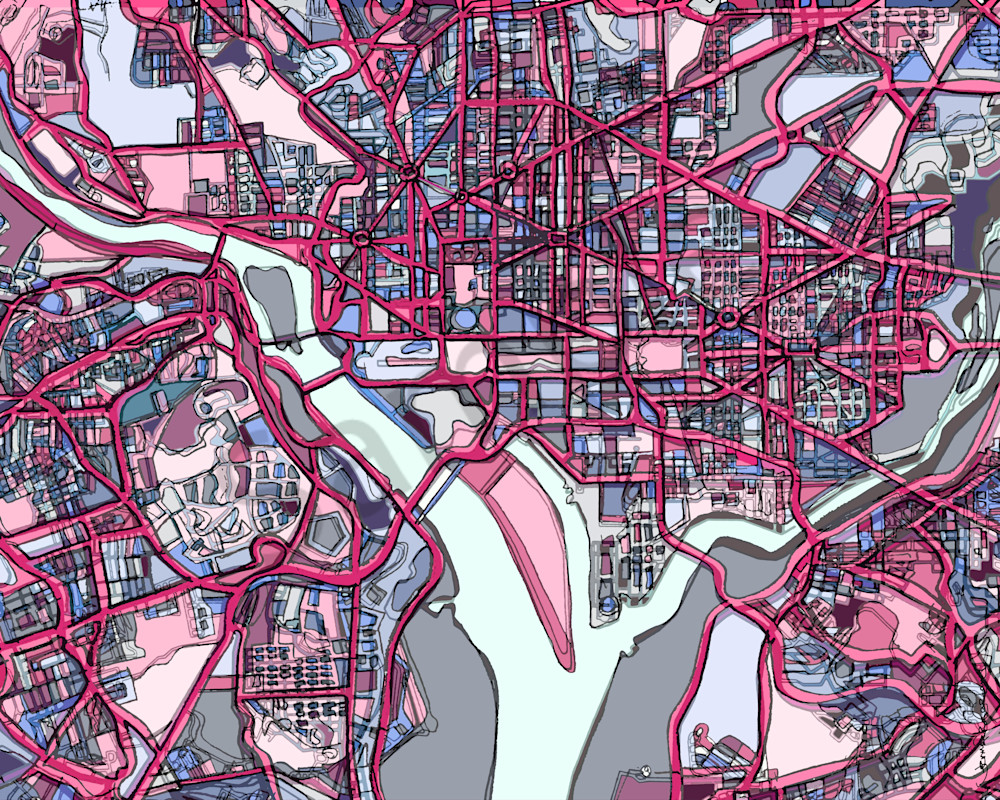 Washington DC Art For Sale- Purchase Wall Art Showing City Maps. City Neighborhood Art – Abstract Map Print of WASHINGTON DC. Travel Prints | Gift Ideas | Art Prints | Modern Map Art | Abstract Office Art