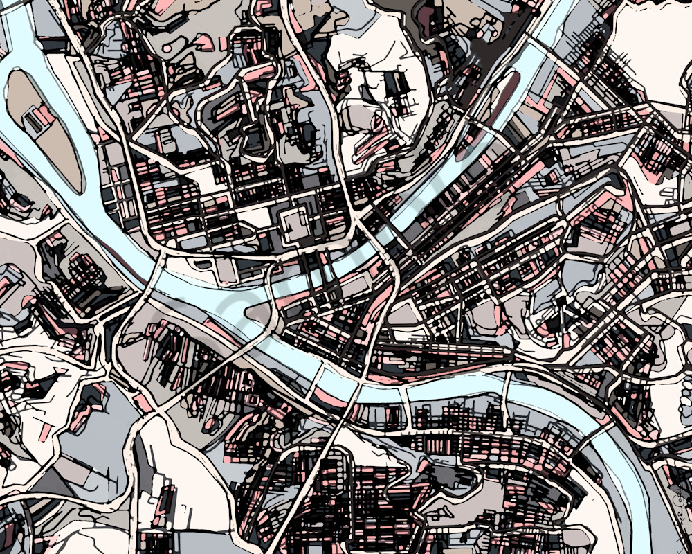 Pittsburgh PA Map For Sale Online- Abstract Art of City Maps. City ...