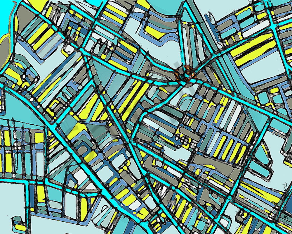 Davis Square Abstract Map Art For Sale - City Neighborhood – Modern City Map Print of DAVIS SQUARE. Neighborhood Map | Neighborhood Print | Modern City Map | Abstract City Print