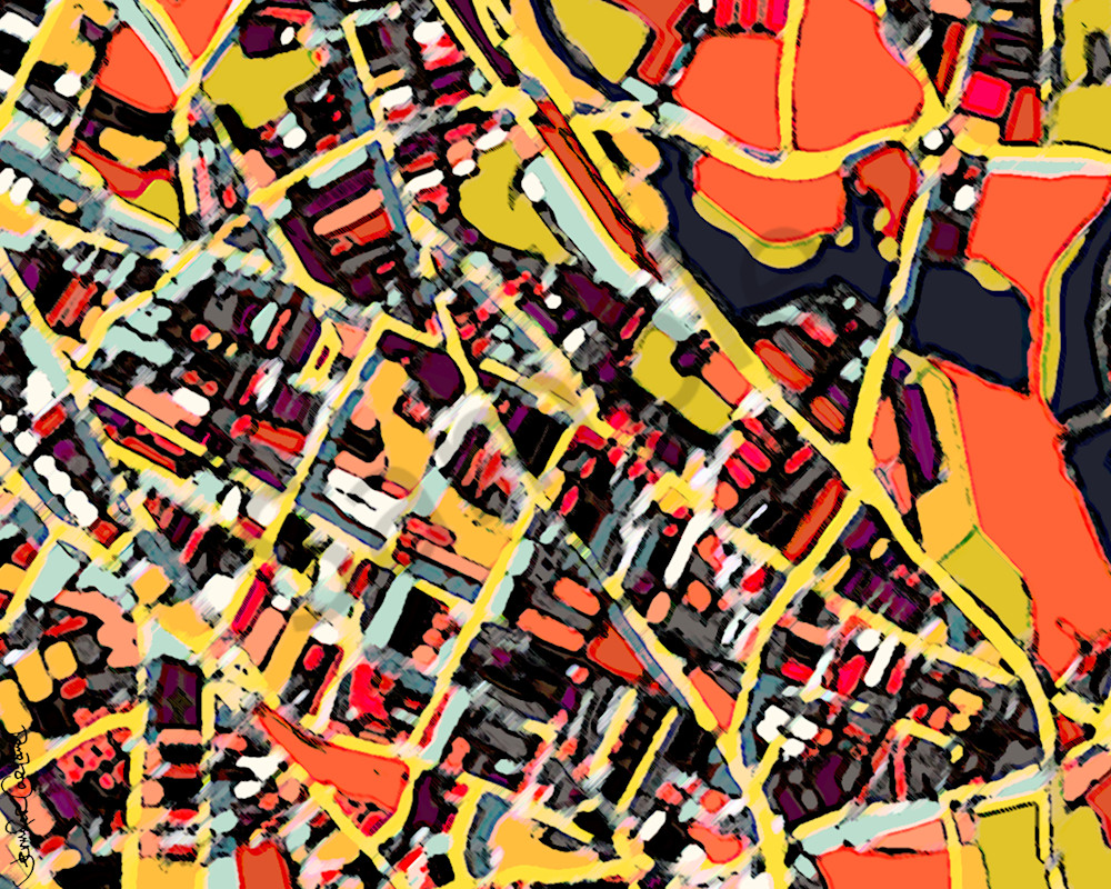 Modern Art Print- Abstract Map of Somerville. Modern Wall Art – Neighborhood Map of SOMERVILLE MA. Abstract Map Print | Housewarming Present | Boston City Print | Modern Map Art
