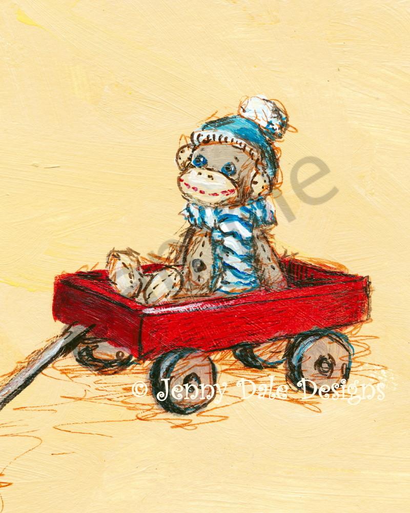 Sock Monkey's Wagon Ride Art | Jenny Dale Designs