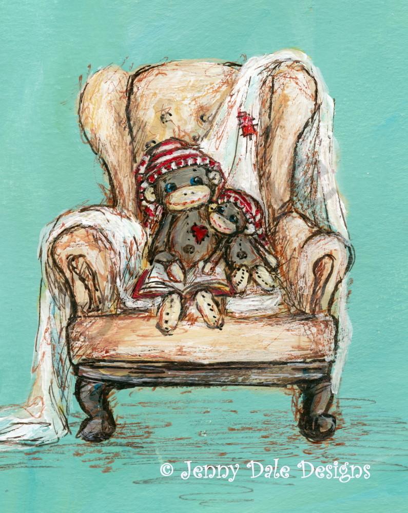 Sock Monkeys In Cozy Chair Art   Jenny Dale Designs