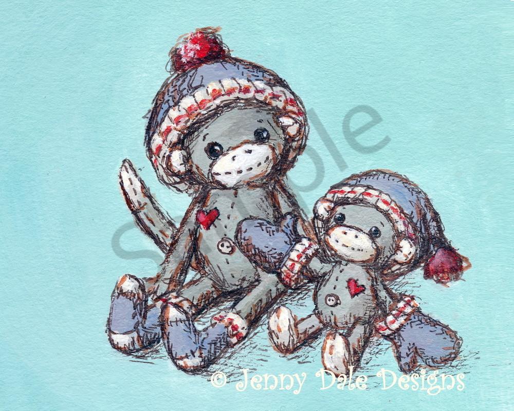 Sock Monkey's Mittens: Dressed In Love Art | Jenny Dale Designs