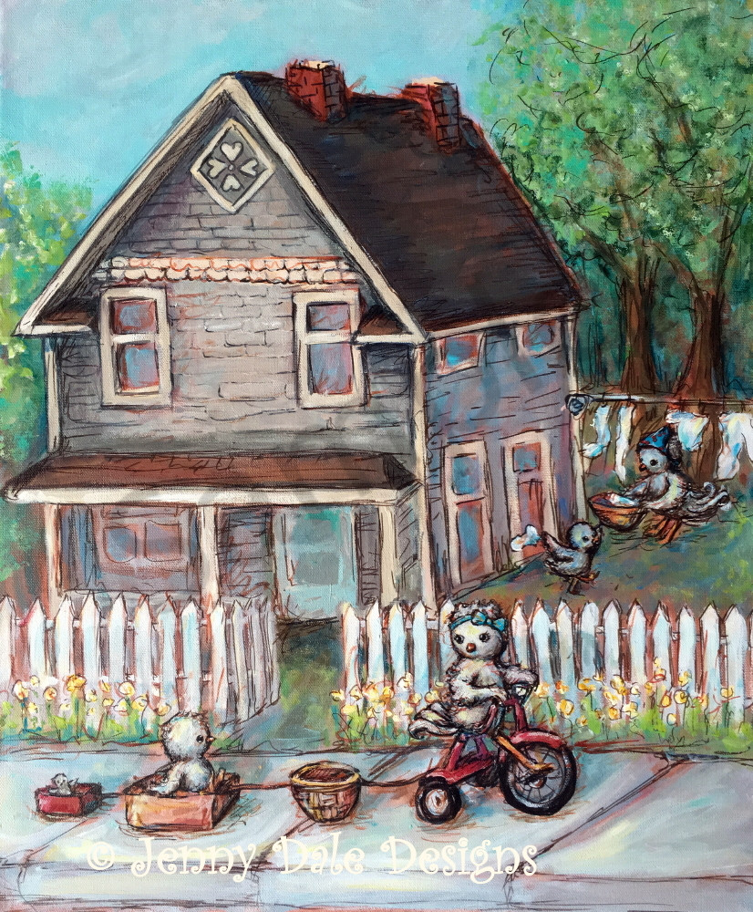 Okotoks House: Tricycle Train Ride Art | Jenny Dale Designs