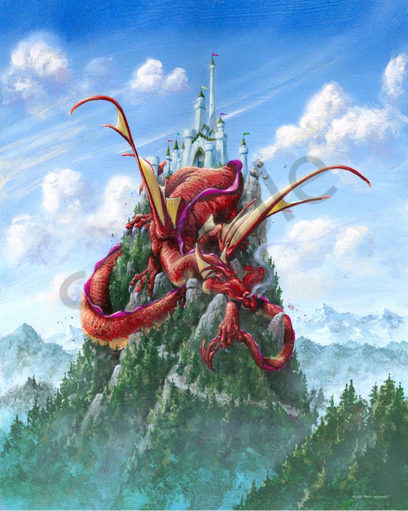 Sleeping dragon on a castle