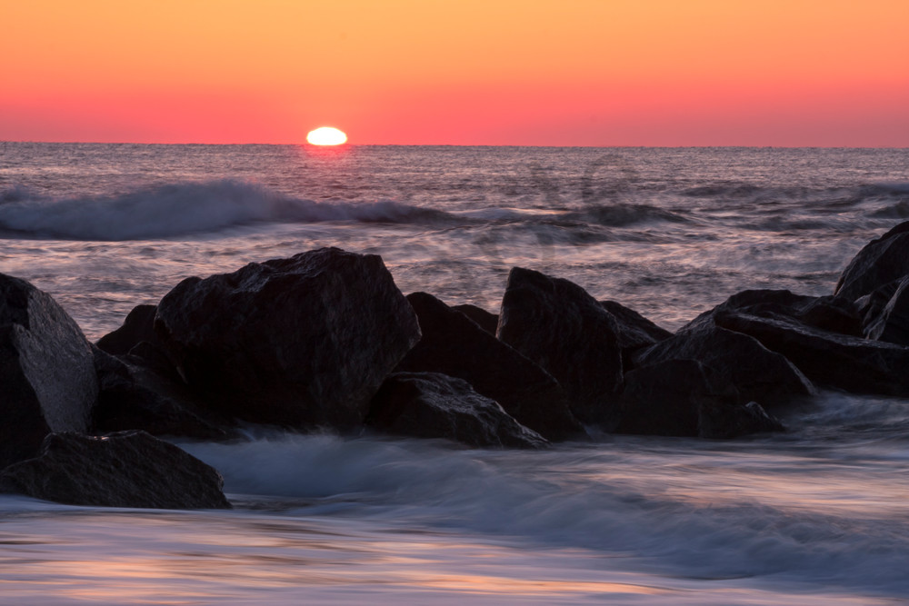 Beach Wall Art: Sea Wall Sunrise