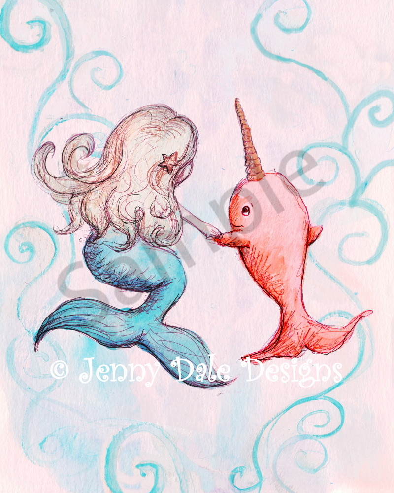 Mermaid And Narwhal Art | Jenny Dale Designs