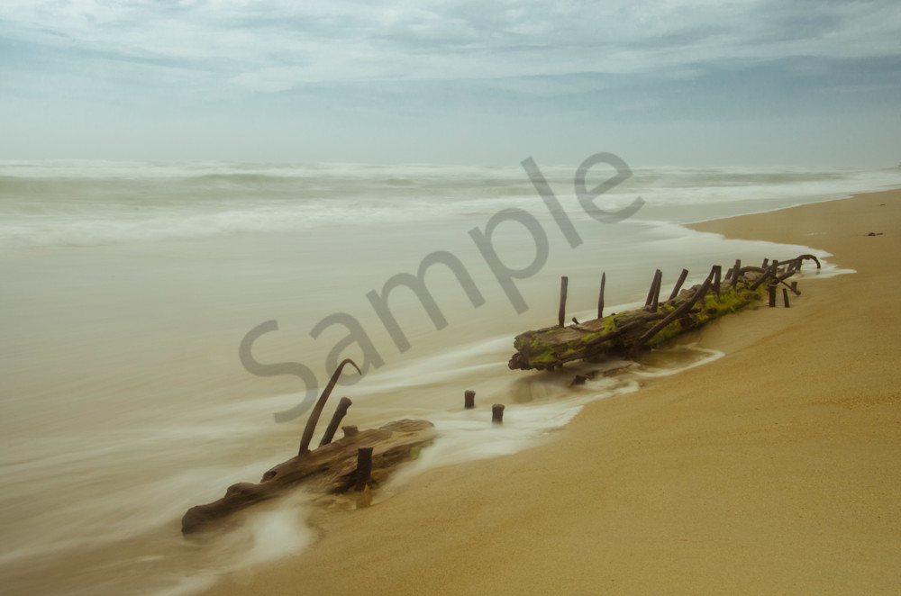 Misty Shipwreck on the Beach Landscape Photo Wall Art by Landscape Photographer Melissa Fague
