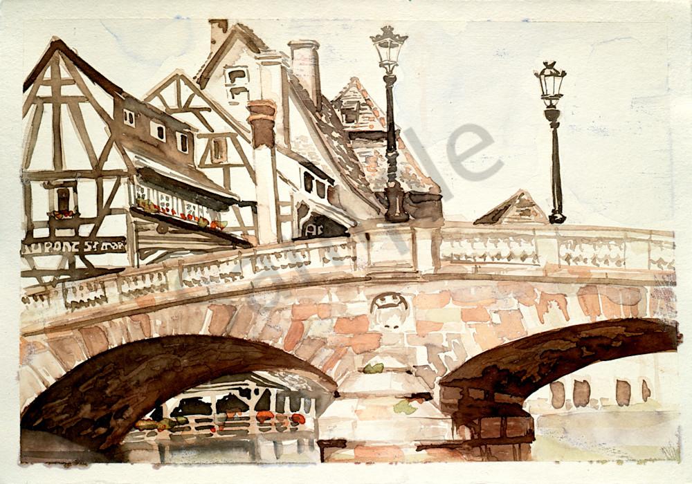 pont st martin strasbourg france watercolor landscapes gordon meggison iv. Black Bedroom Furniture Sets. Home Design Ideas