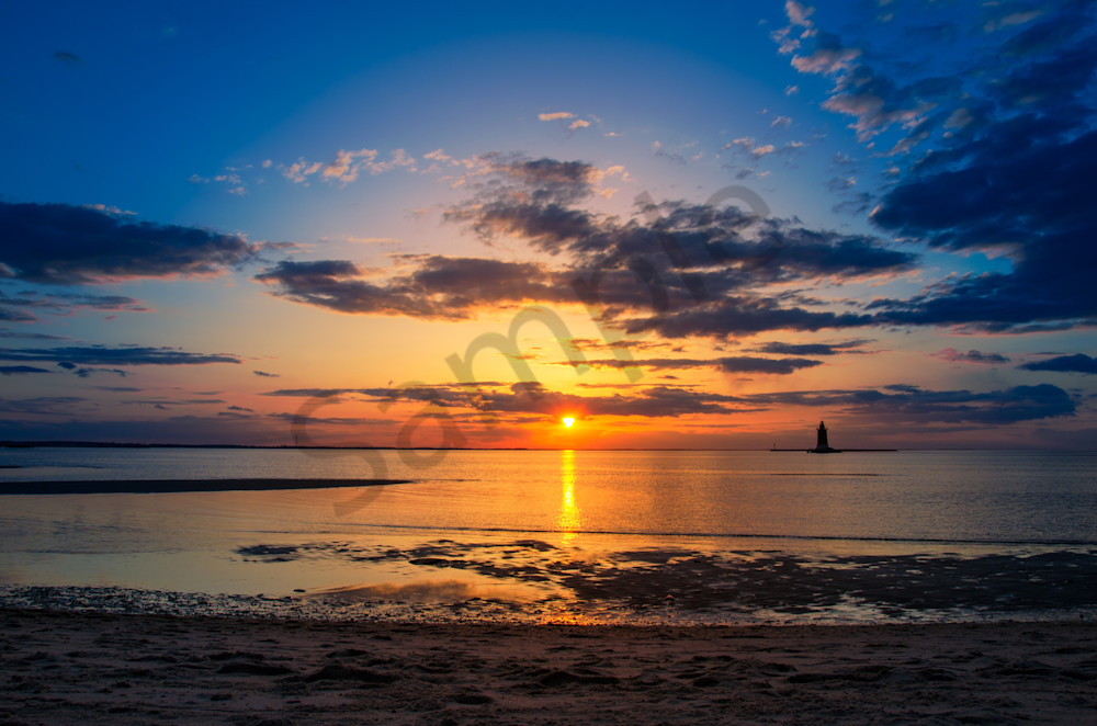 Sunset Breakwater Lighthouse Landscape Photo Wall Art by Landscape Photographer Melissa Fague