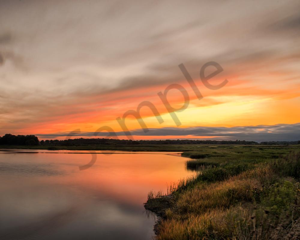 Sunset Over Woodland Marsh Landscape Photo Wall Art by Landscape Photographer Melissa Fague