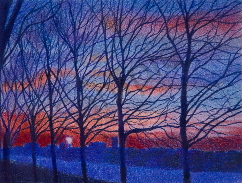 Manhattan Landscape Art of Trees At Sunset -Washington  Heights Painting