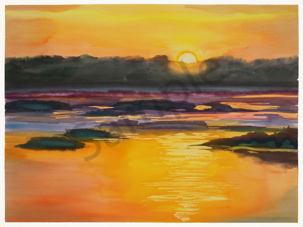Fernandina Sunrise 1 | Watercolor Landscapes | Gordon Meggison IV