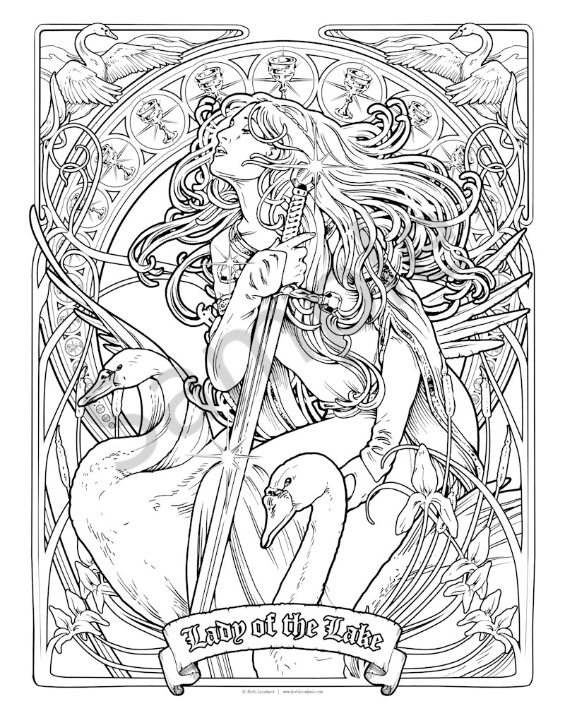 Lady of the Lake - Color Your Own