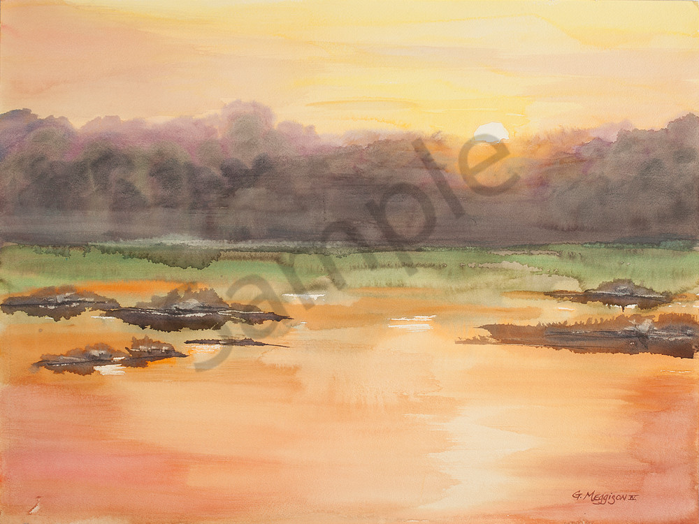 Fernandina Sunrise 4 | Watercolor Landscapes | Gordon Meggison IV