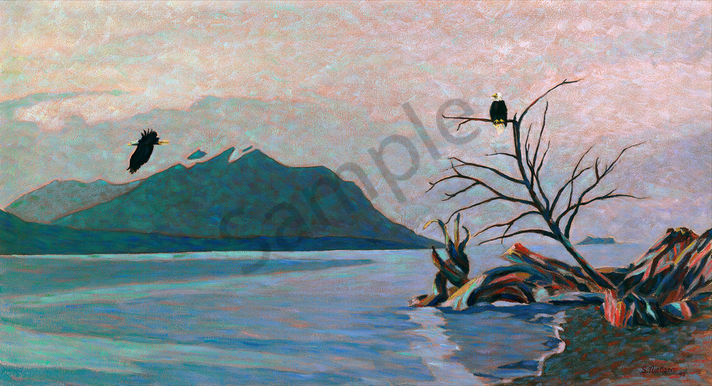 Eagles in flight over the waters of Hiadi Gwaii - oil by Sherry Nielsen
