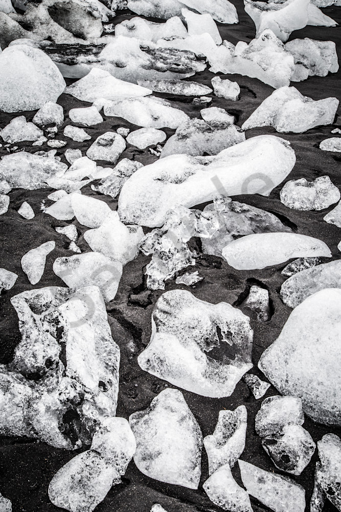 Glacial Ice on Black Sand, Jokulsarlon, Iceland