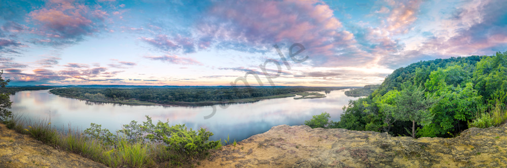 Wisconsin River Sunset From Ferry Bluff, Lodi, Wisconsin, USA