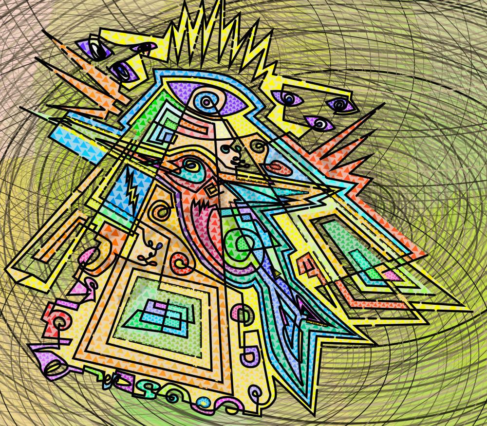 Glory Bird abstract, algorithmic wall art by Peter McClard.