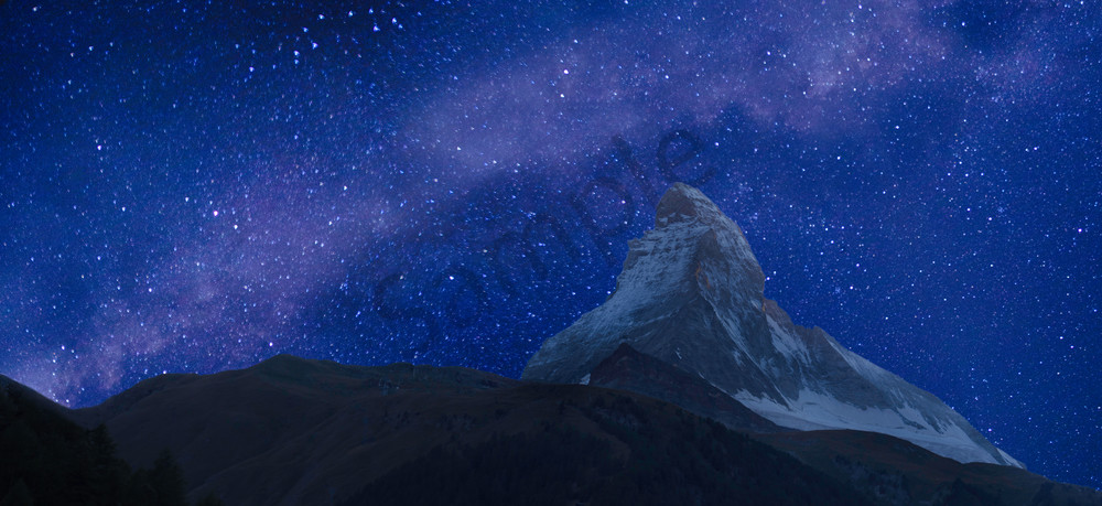 Milky Way and Matterhorn, Zermatt, Valais, Switzerland