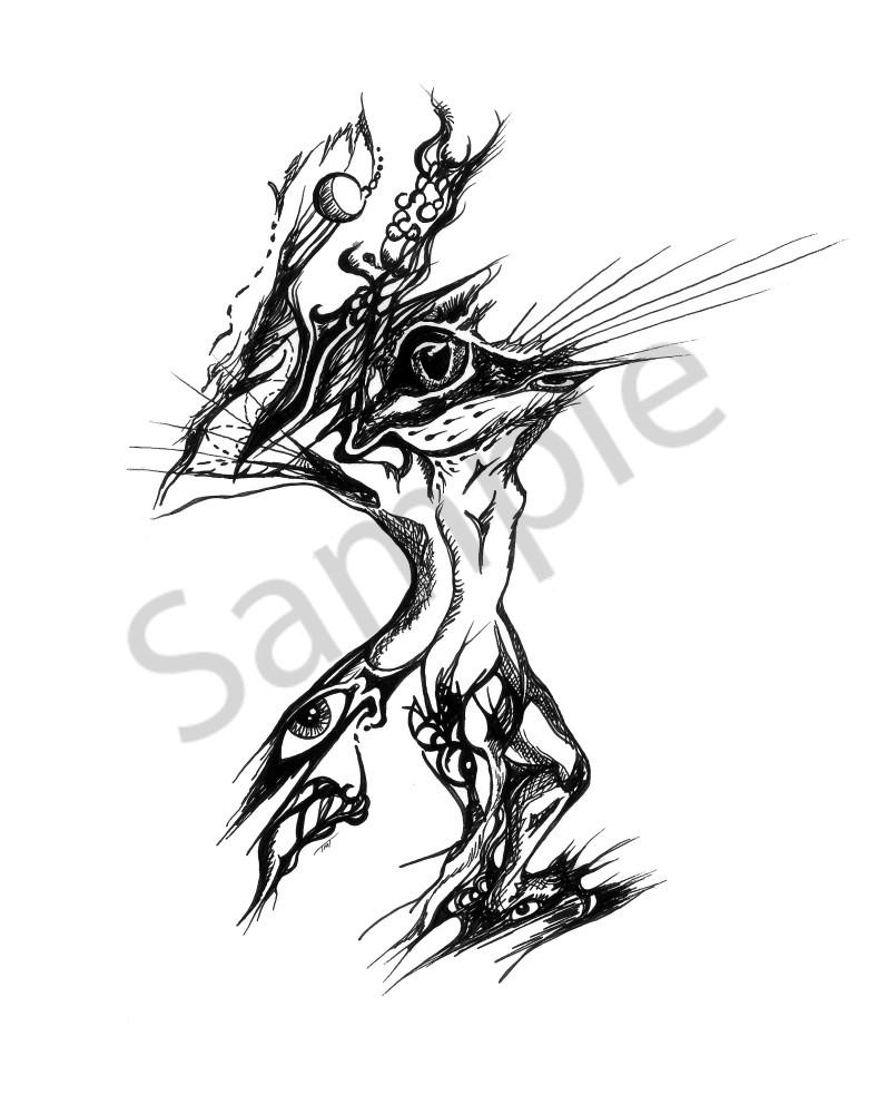 Surrealistic Reflections Figure Frog - Pen & Pencil Art