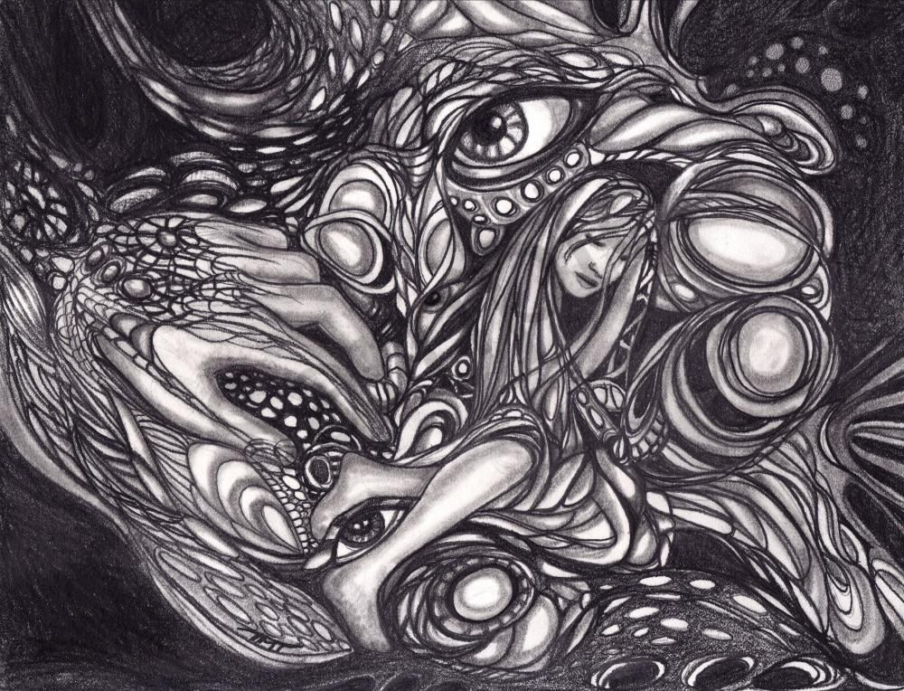 Surrealistic Reflections - Dreams of Lothlorien drawn in Pencil