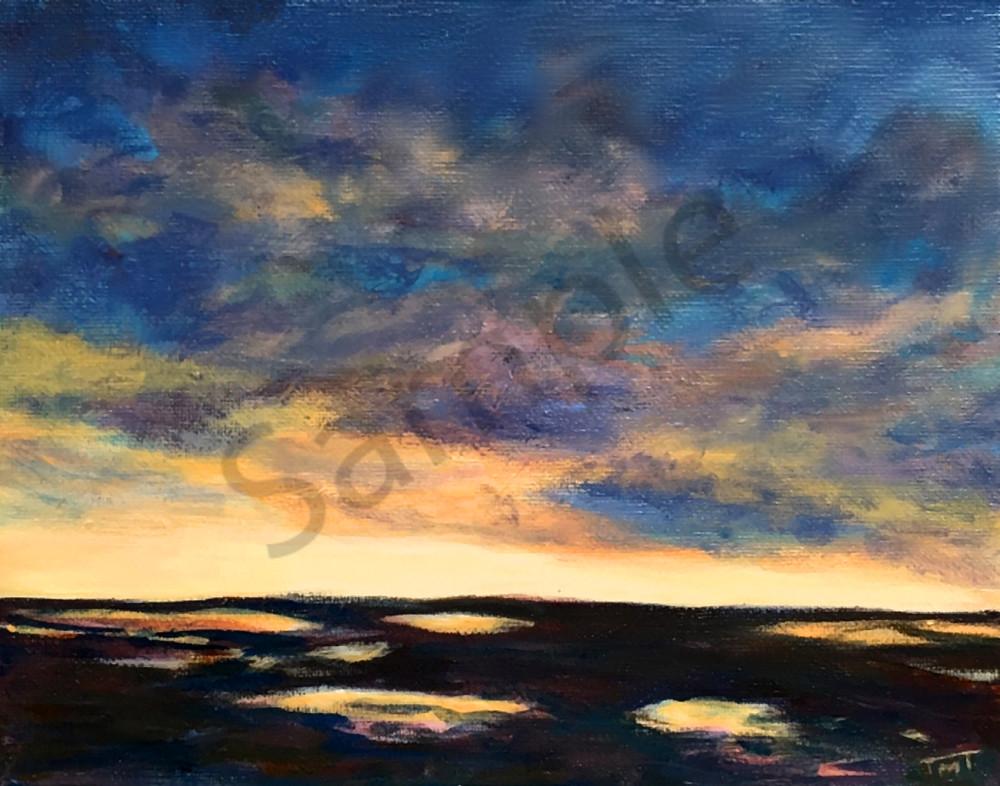 moody marsh, acrylic painting of marsh
