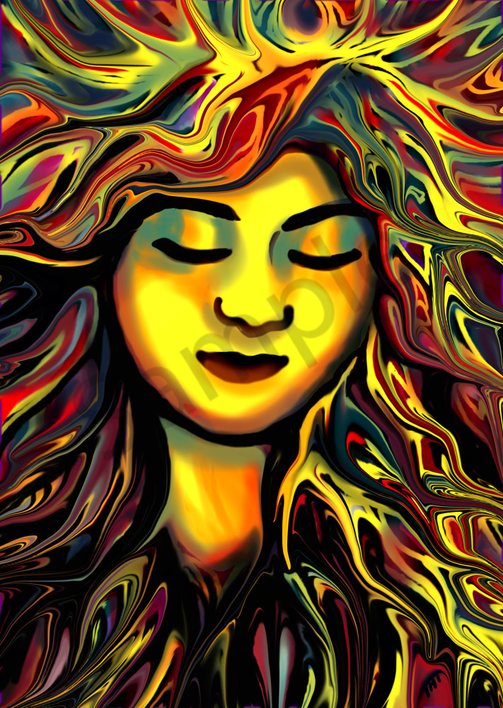 Surrealistic Digital Portrait in primary colors