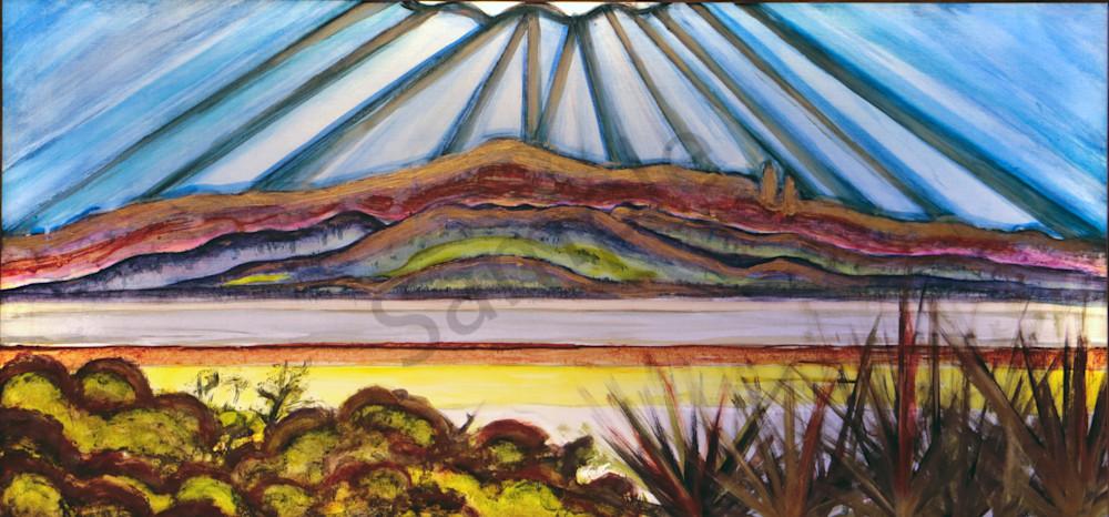 Sandia Mountain Rio Grande Sunrise Landscape Print