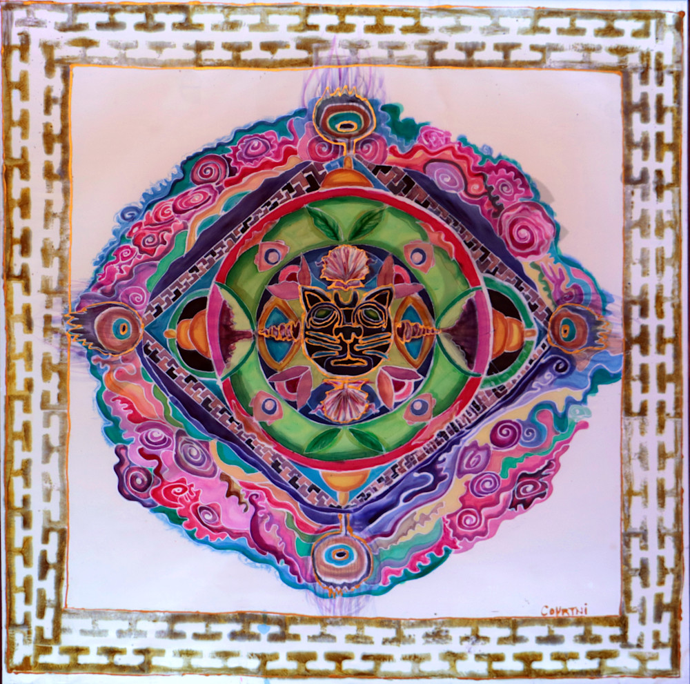 Jaguar Rose Mandala Print for Shamanic Ceremony and Meditation