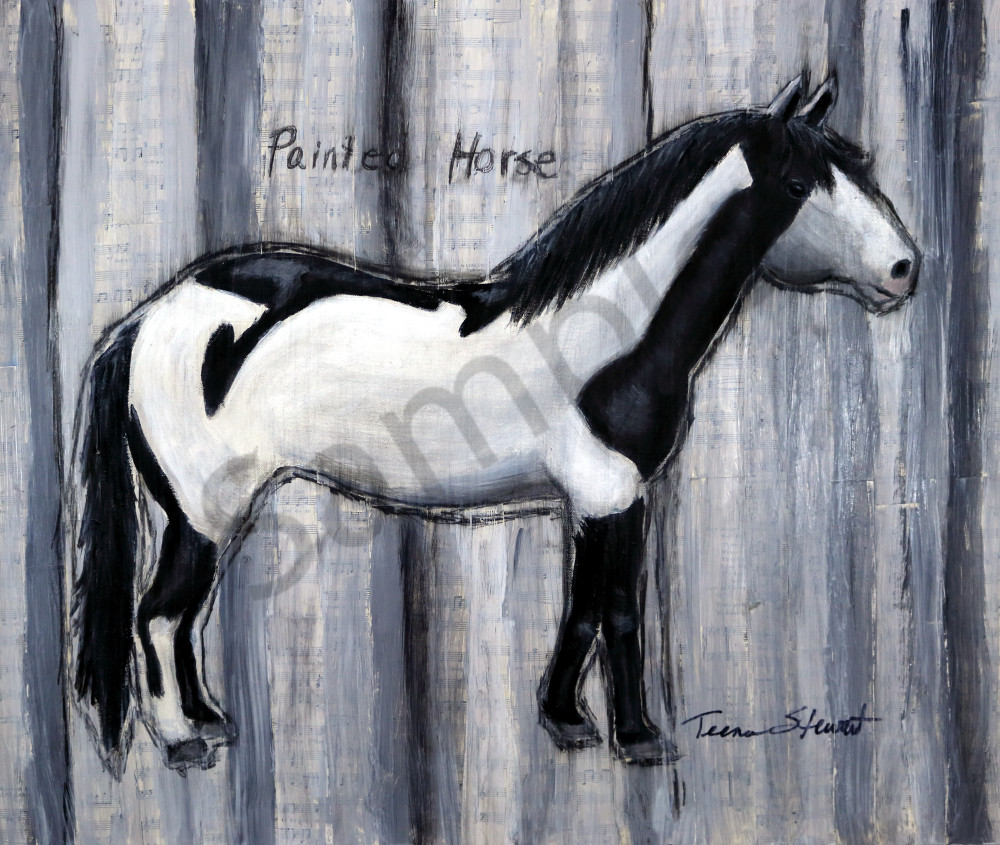 Painted Horse Black And White Fine Art Paintings For Sale By Teena Stewart Of Serendipitini Studio