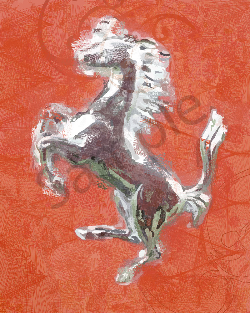 Ferrari Logo as algorithmic art, photographs and prints at brilliancegallery.com