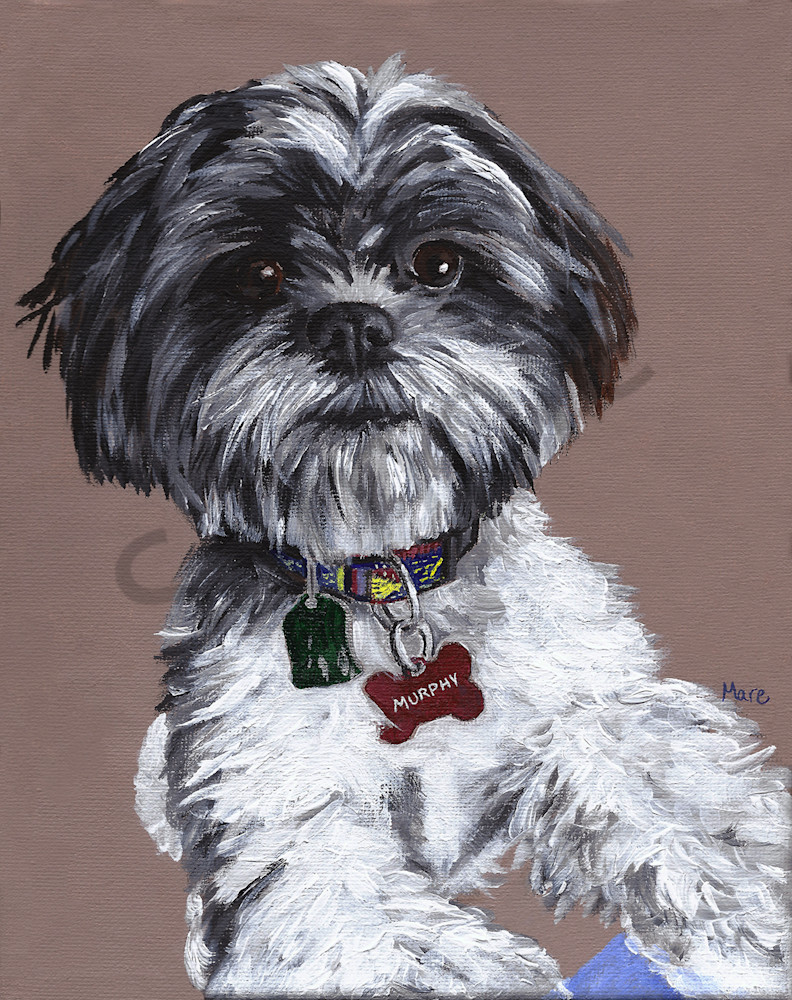 Cute pet portrait painted in acrylic