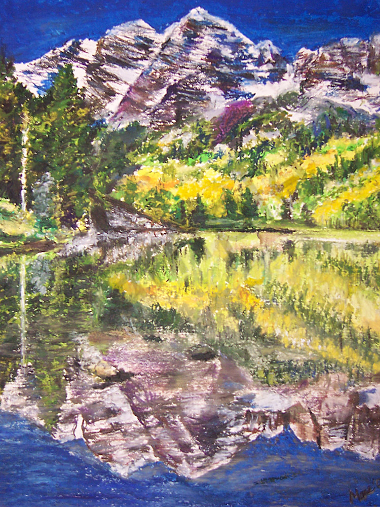 Original pastel artwork of Maroon Bells mountains, with a reflection onto Maroon Lake by Mary Anne Hjelmfelt