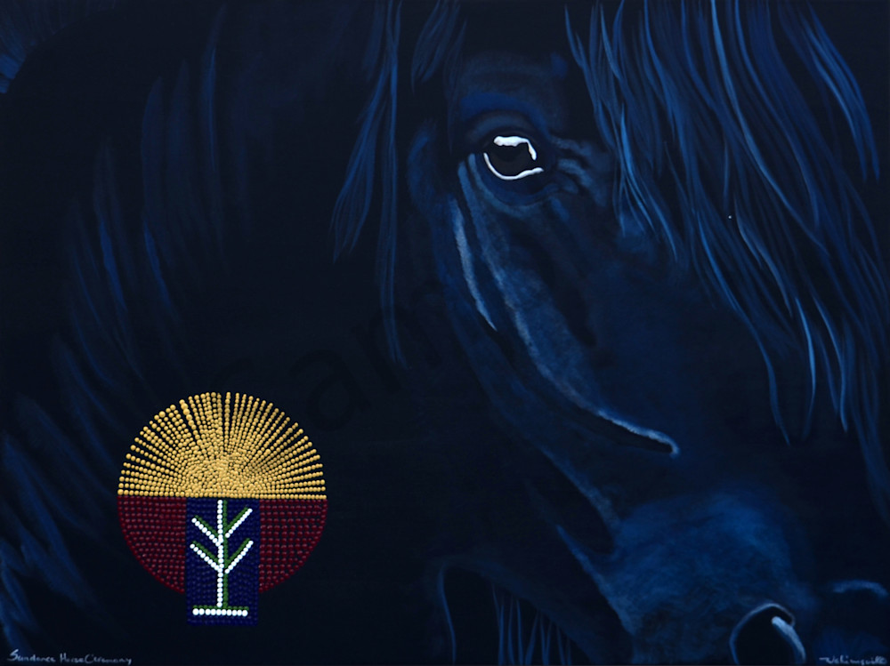Sundance Horse Ceremony with Beadwork Patch by Wabimeguil