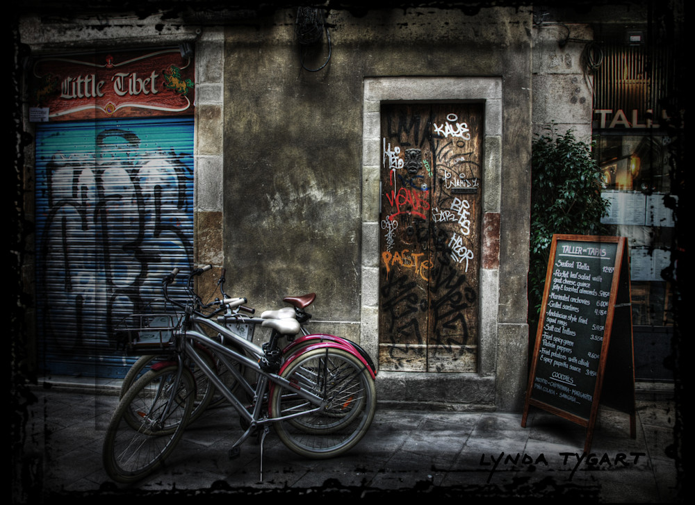 Lynda Tygart Bicycles and Graffiti in Barcelona Spain Europe – Fine Art Photographs Prints on Canvas, Paper, Metal & More.