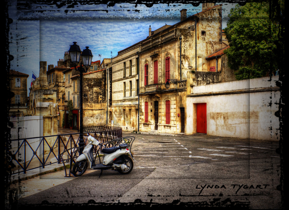 Lynda Tygart Scooter in Arles France – Fine Art Photographs Prints on Canvas, Paper, Metal & More.