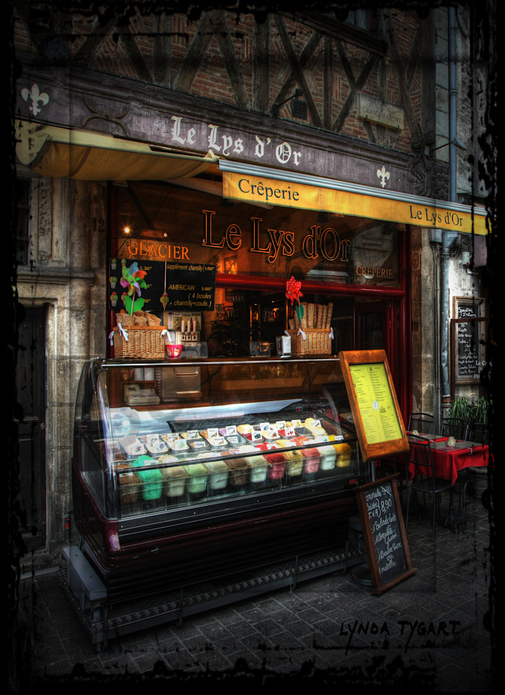 Lynda Tygart Cafe Pub in France Europe Le Lys D'or – Fine Art Photographs Prints on Canvas, Paper, Metal & More.