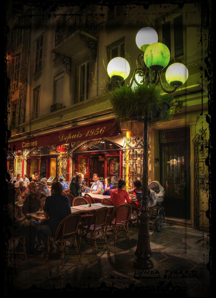 Lynda Tygart France Cafe Street Lamp – Fine Art Photographs Prints on Canvas, Paper, Metal & More.