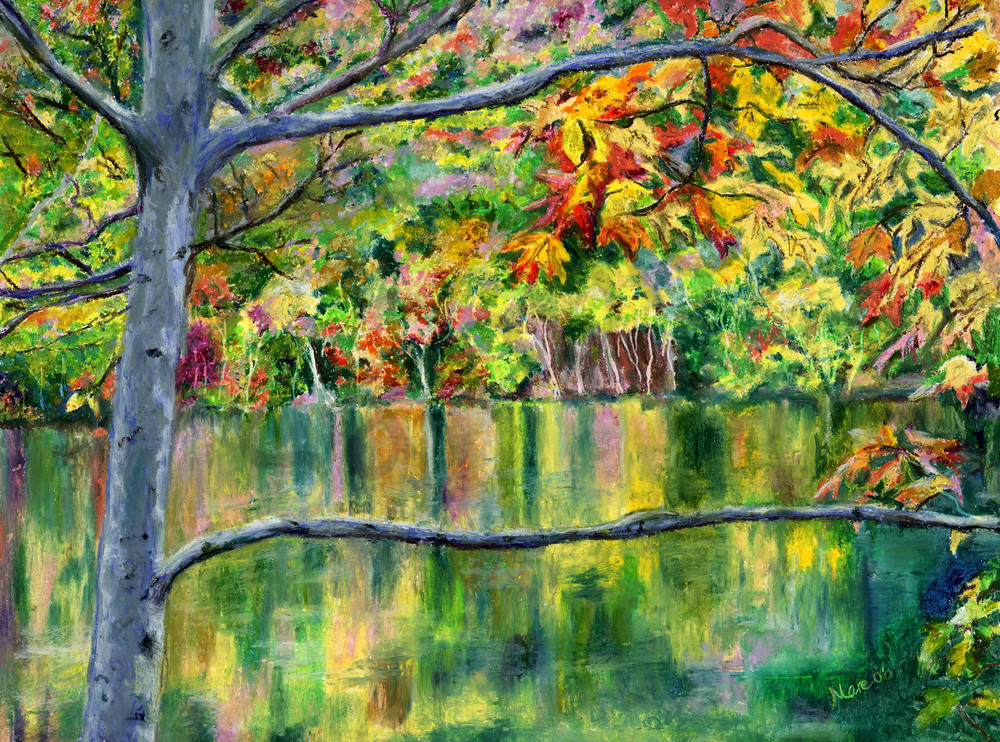 Original oil pastel drawing of a New England lake surrounded by bursts of Fall foliage, creating a colorful reflection in the water by Mary Anne Hjelmfelt.