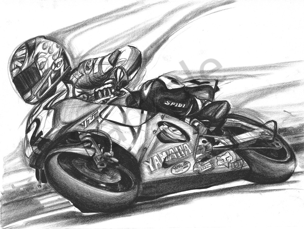 Yamaha Racing Motorcycle Drawing Jamie Hacking Art